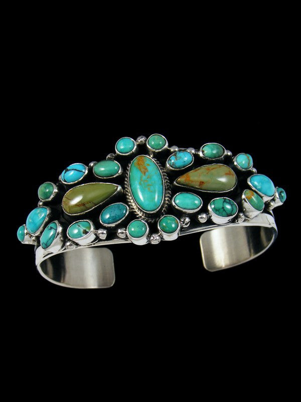 Native American Sterling Silver Cloud Mountain Turquoise Cuff Bracelet