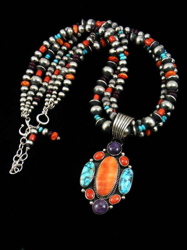 Native American Spiny Oyster and Turquoise Necklace by Archie and LaRose Ganadonegro - PuebloDirect.com - 1