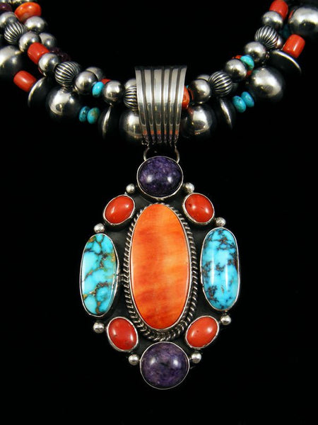 Native American Spiny Oyster and Turquoise Necklace by Archie and LaRose Ganadonegro - PuebloDirect.com - 2