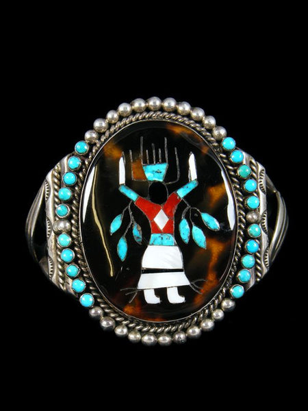 Old Pawn Native American Indian Inlay Bracelet by Vintage Jewelry - PuebloDirect.com - 1