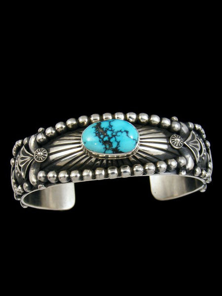 Native American Sterling Silver Cloud Mountain Turquoise Cuff Bracelet by Delbert Gordon - PuebloDirect.com - 1