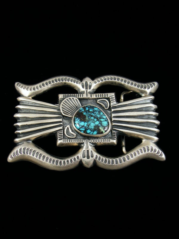 Old Pawn Indian Jewelry Turquoise Belt Buckle by Henry Morgan - PuebloDirect.com