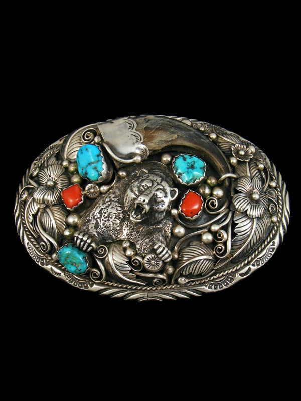 Sterling Silver Native American Turquoise and Coral Bear Claw Belt Buckle by Angela Lee - PuebloDirect.com - 1