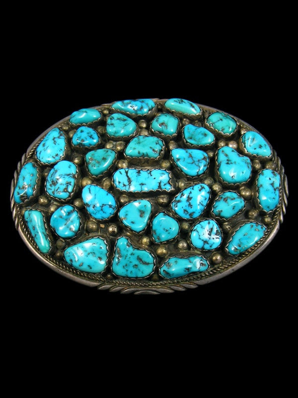 Sterling Silver Native American Turquoise Belt Buckle