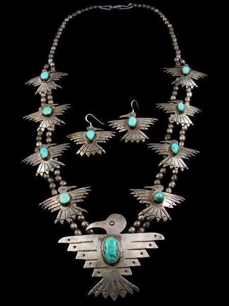 Old Pawn Harvey Era Turquoise Thunderbird Squash Blossom Sterling Silver Necklace