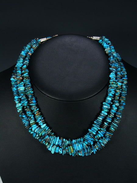 Native American Triple Strand Turquoise Necklace