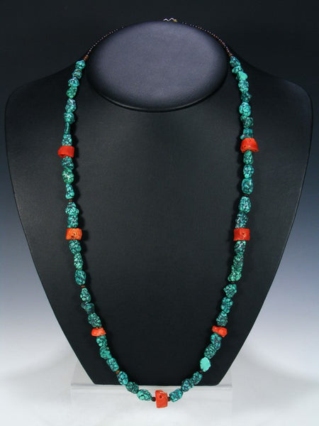 Vintage Native Jewelry Turquoise and Coral Necklace