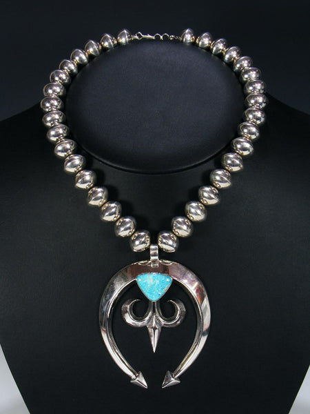Navajo Sterling Silver Sandcast Number Eight Turquoise Naja Necklace