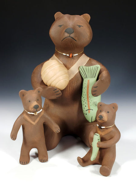 Jemez Pueblo Storyteller Bear Family by Marcus Wall - PuebloDirect.com - 1