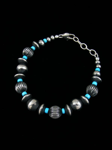 Native American Sterling Silver Turquoise Bead Bracelet