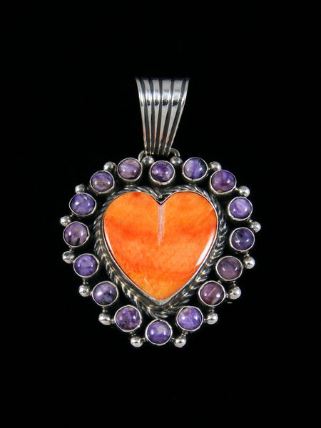 Native American Sterling Silver Spiny Oyster and Charoite Heart Pendant