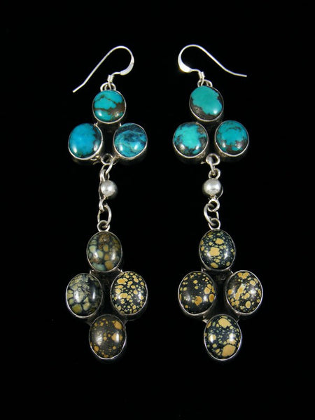 Navajo Turquoise and New Lander Variscite Hook Earrings