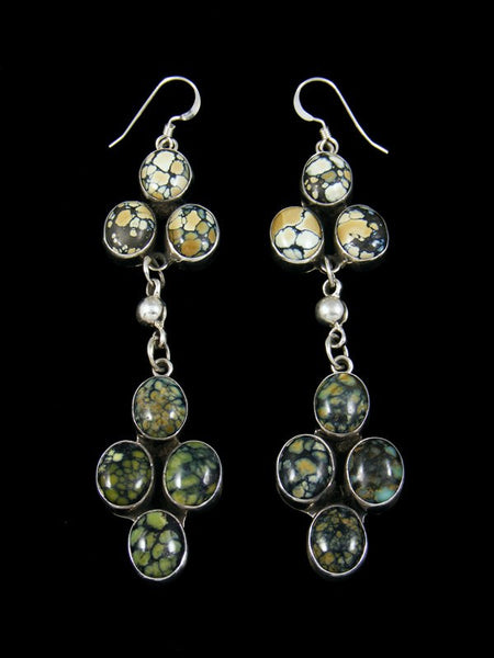 Navajo New Lander Variscite Hook Earrings