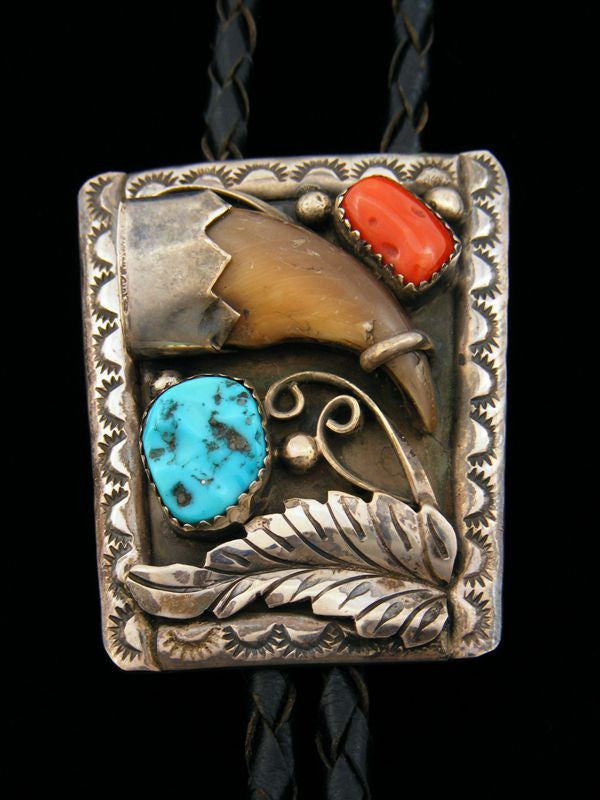 Old Pawn Indian Sterling Silver Bear Claw Bolo Tie by J B - PuebloDirect.com - 1