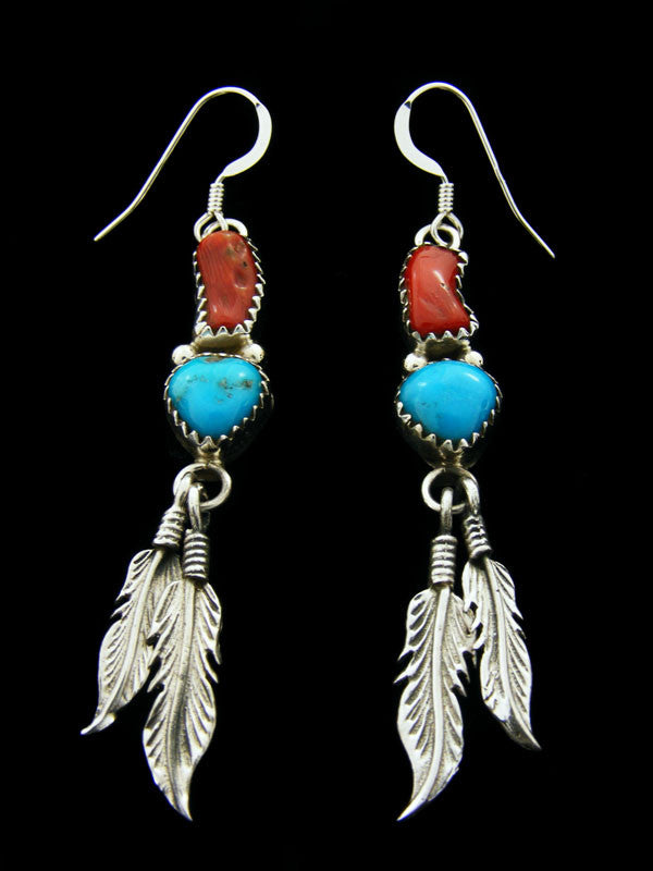 Turquoise and Coral Double Feather Earrings by Annie Spencer - PuebloDirect.com
