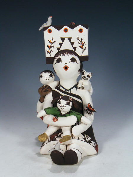 Acoma Pueblo Hand Made Pottery Storyteller With Cat