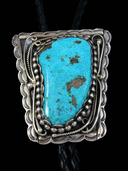 Old Pawn Indian Jewelry Kingman Turquoise Bolo Tie