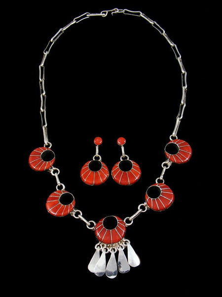 Native American Zuni Inlay Coral Necklace Set
