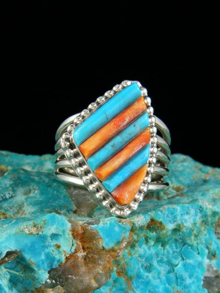 Turquoise and Spiny Oyster Inlay Ring, Size 7