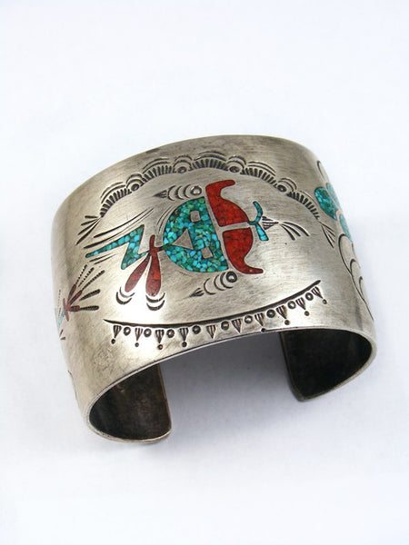 Old Pawn Navajo Sterling Silver Chip Inlay Bracelet