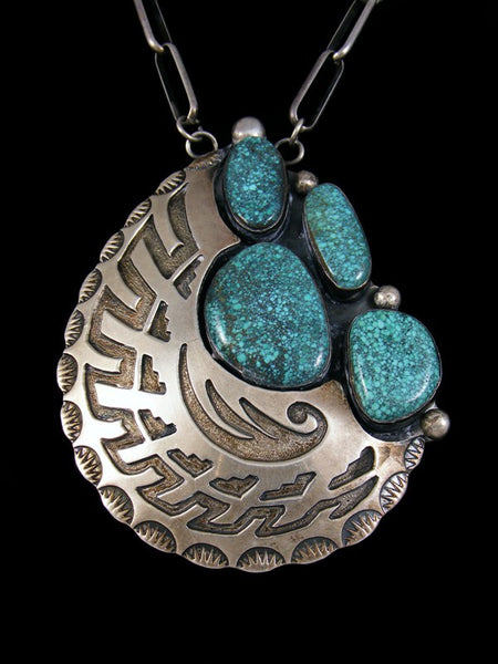 Estate Indian Jewelry Sterling Silver Turquoise Necklace