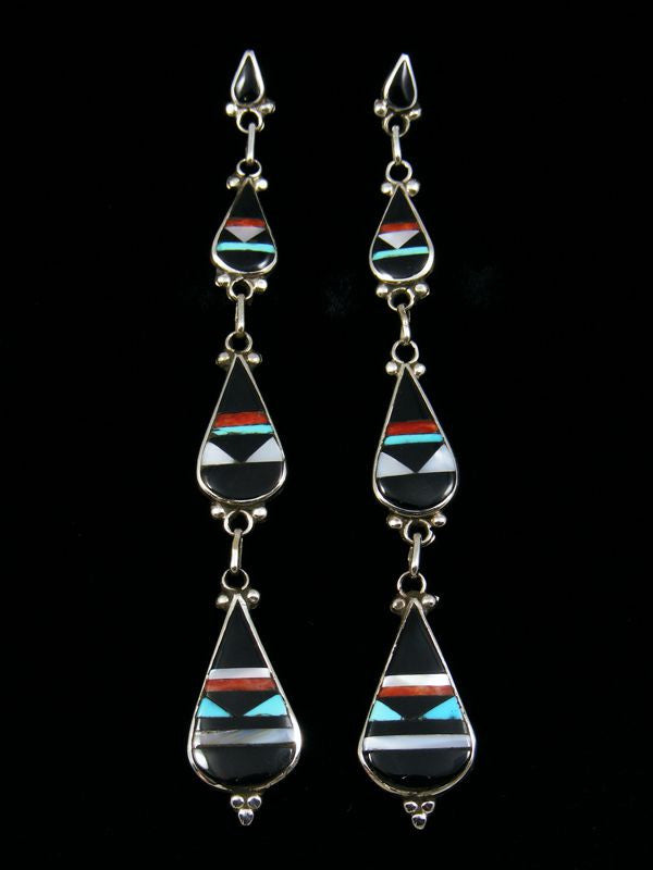 Zuni Inlay Earrings by Diane Othole - PuebloDirect.com