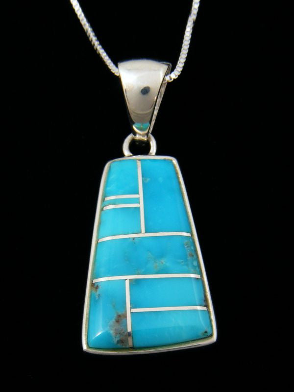 Native American Turquoise Inlay Pendant by BGN - PuebloDirect.com