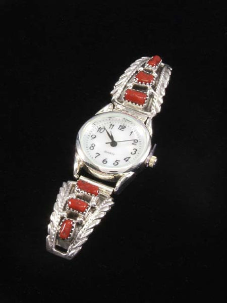 Native American Indian Jewelry Sterling Silver Three Stone Coral Ladies' Watch by Navajo Artist - PuebloDirect.com - 1