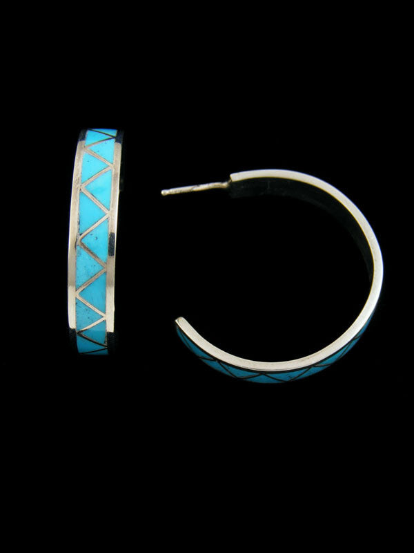 Turquoise Inlay Hoop Earrings by Claudine Haloo - PuebloDirect.com