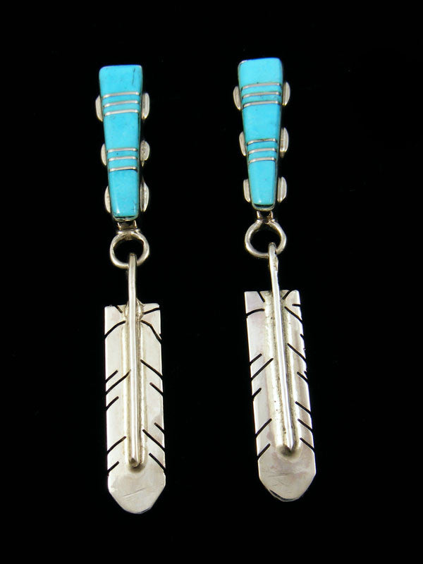 Turquoise Feather Earrings by Tammy Johnson - PuebloDirect.com
