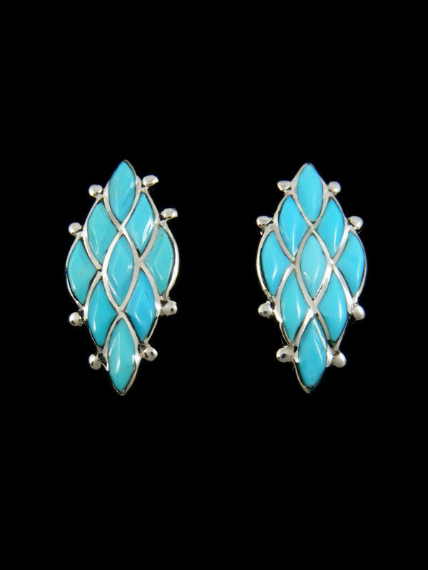 Zuni Turquoise Earrings by Lori Chavez - PuebloDirect.com