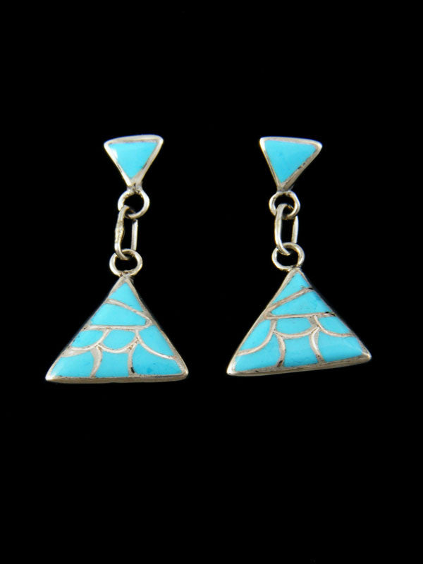 Zuni Turquoise Inlay Earrings by Orena Leekya - PuebloDirect.com