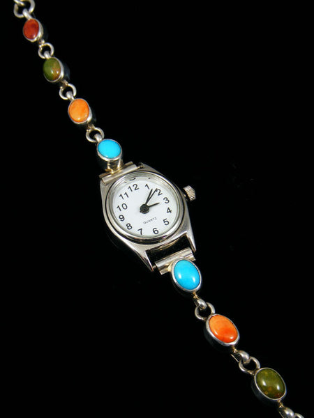 Native American Indian Sterling Silver Ladies' Link Watch by Navajo Artist - PuebloDirect.com - 1