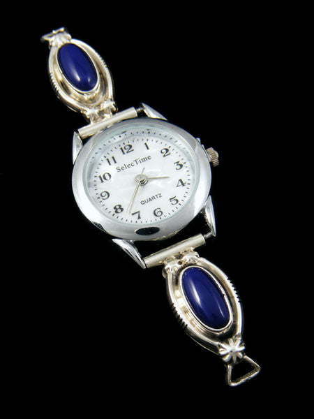 Native American Indian Jewelry Sterling Silver Lapis Ladies' Watch by Navajo Artist - PuebloDirect.com