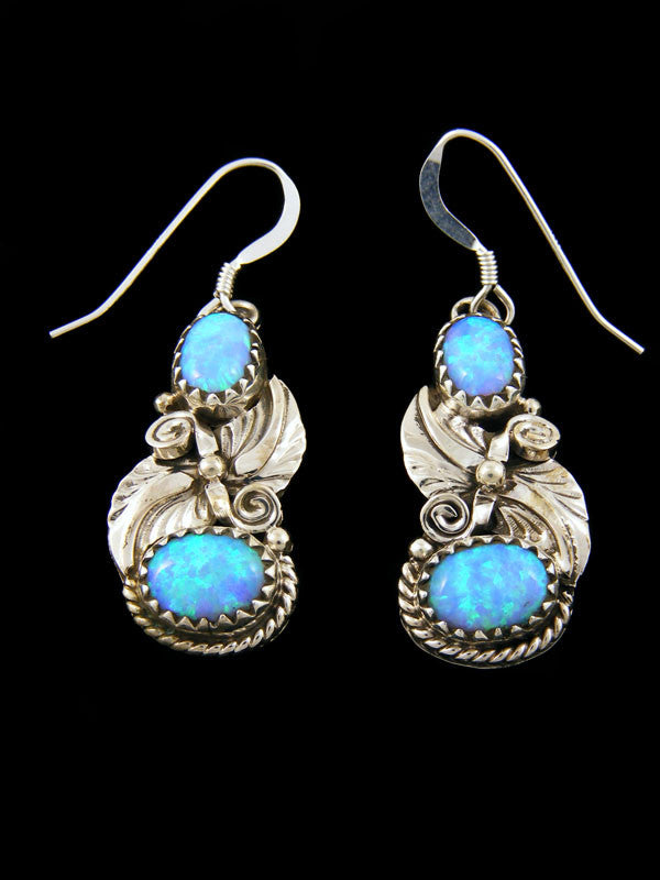 Two Stone Blue Opal Earrings by Navajo Artist - PuebloDirect.com