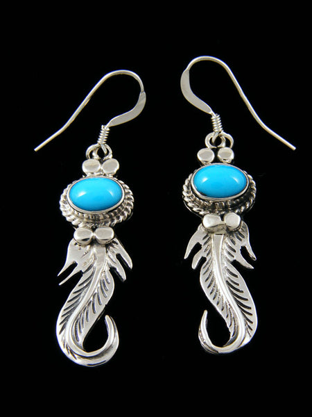 Curved Feather Dangle Earrings by Lee Shorty - PuebloDirect.com