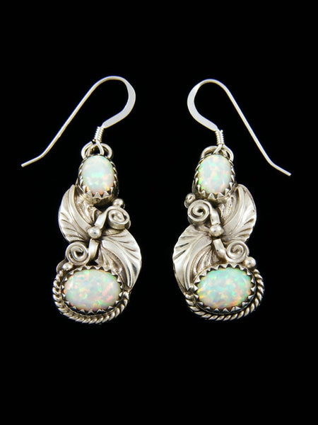 Two Stone Opal Earrings by Navajo Artist - PuebloDirect.com