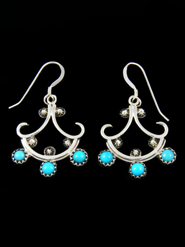 Turquoise Chandelier Earrings by Navajo Artist - PuebloDirect.com