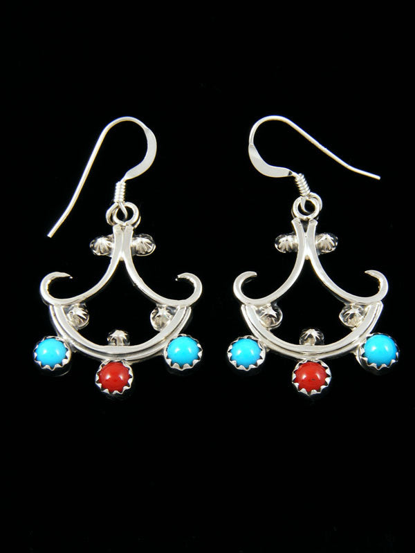 Turquoise and Coral Chandelier Earrings by Navajo Artist - PuebloDirect.com