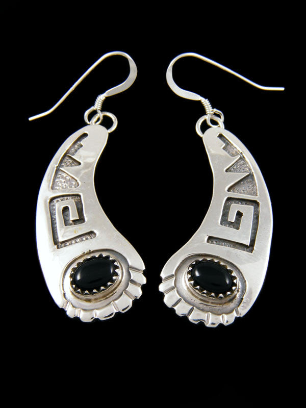 Onyx Curved Earrings by Navajo Artist - PuebloDirect.com