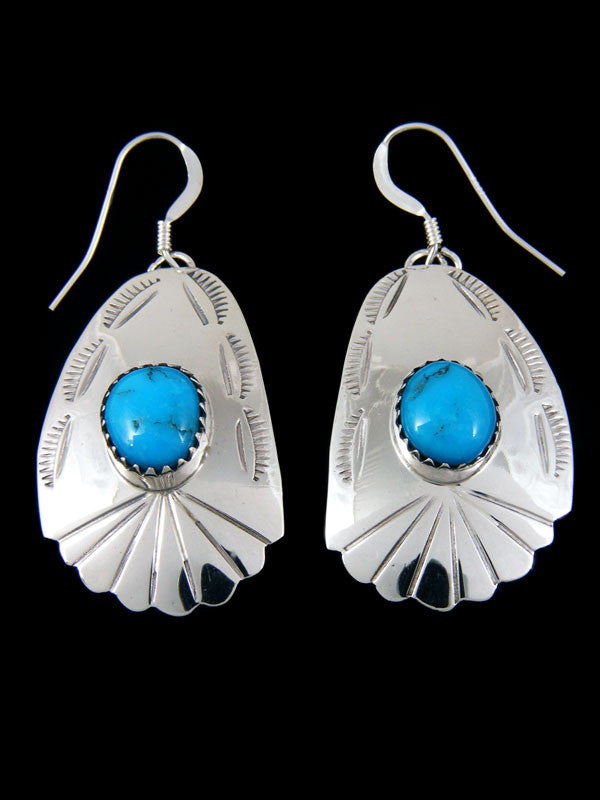 Turquoise Stamped Earrings by Roger Pino - PuebloDirect.com