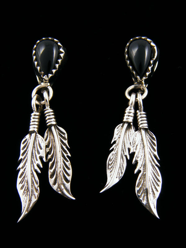 Onyx Double Feather Earrings by Navajo Artist - PuebloDirect.com