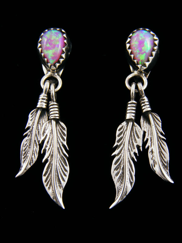 Pink Opal Earrings by Navajo Artist - PuebloDirect.com