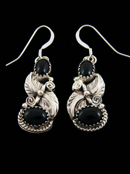 Two Stone Onyx Earrings by Navajo Artist - PuebloDirect.com