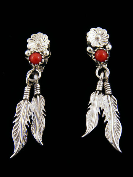 Coral Double Feather Earrings by Navajo Artist - PuebloDirect.com