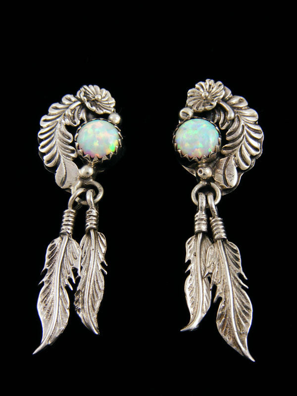 Opal Double Feather Earrings by Navajo Artist - PuebloDirect.com