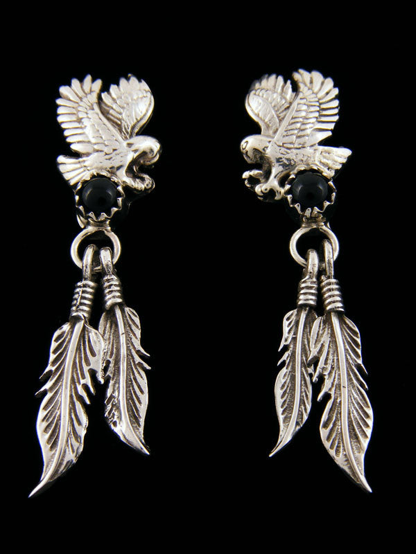 Onyx Eagle Earrings by G Francisco - PuebloDirect.com
