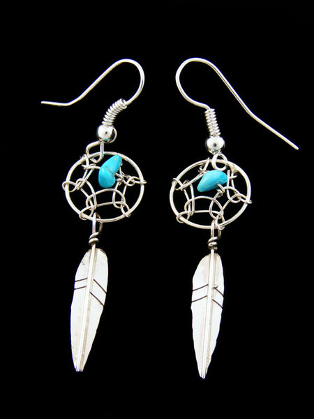 Small Dreamcatcher Earrings by Lorenzo Arviso Jr - PuebloDirect.com