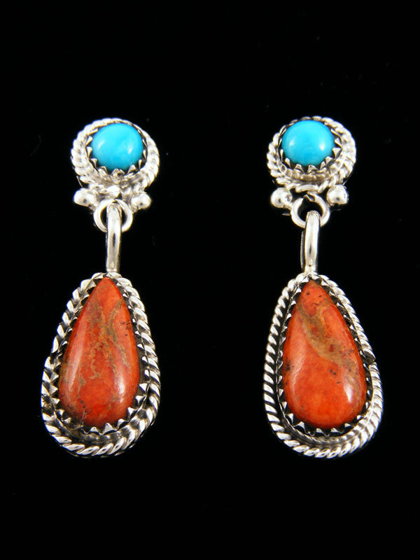 Turquoise and Apple Coral Earrings by Navajo Artist - PuebloDirect.com