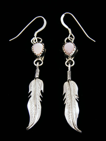 Pink Shell Feather Earrings by Navajo Artist - PuebloDirect.com